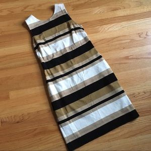 Banana Republic gold striped fitted sheath dress